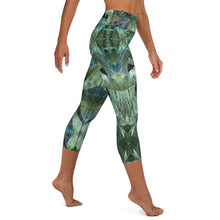 "Load image into Gallery viewer, Women's High Waisted Pattern Leggings Capri Length Yoga Pants (Mid-Calf)- ""Peacock Pandemonium"""