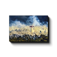 Helicopter Water Drop Over Forest - Canvas Wrap