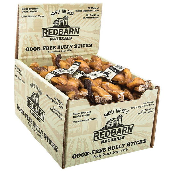 "Odor-Free Braided Bully Stick Bully Sticks redbarnpetproducts 7"" Case of 20 sticks"