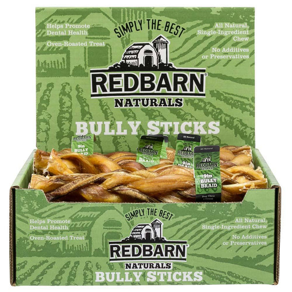 "Braided Bully Stick Bully Sticks redbarnpetproducts 9"" Case of 35 sticks"