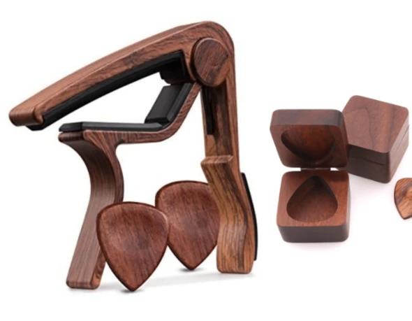 Rosewood Guitar Capo Bundle: Comes with 1x Handcrafted Pick and Limited Edition Pick Box