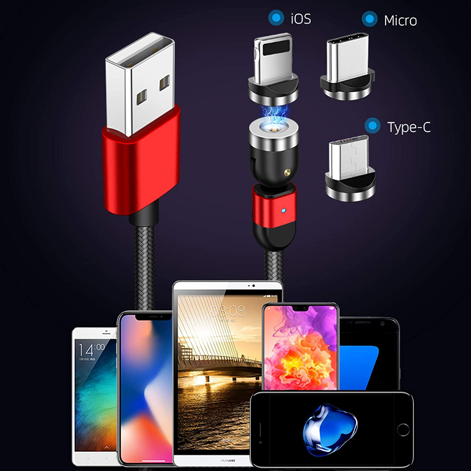 New 360º+180º Rotation Magnetic USB Fast Charging Cable