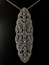 Load image into Gallery viewer, Brooch/Pendant  -  DEBP089   Art Deco style Brooch/Pendant, Silver & Marcasite
