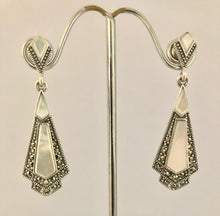 Load image into Gallery viewer, Earrings -  DEEA106MOP Art Deco 925 Silver, Marcasite & Mother of Pearl