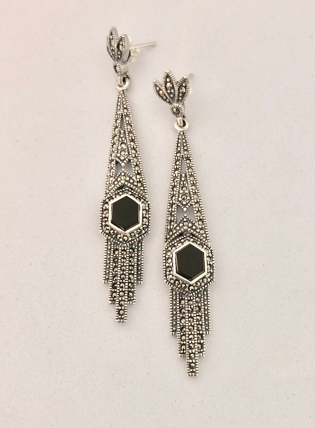 Earrings   -   DE111Ox    Art Deco, Sterling Silver, Marcasite and Black Onyx