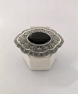 Brooch/Pendant  -  DBP117  925 Silver, Marcasite and Black Onyx Brooch
