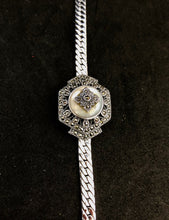Load image into Gallery viewer, Bracelet  -  DBR276MOP  925 Sterling Silver Edwardian Bracelet with Marcasite & Mother of Pearl