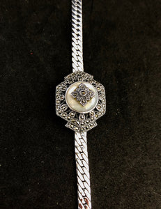 Bracelet  -  DBR276MOP  925 Sterling Silver Edwardian Bracelet with Marcasite & Mother of Pearl