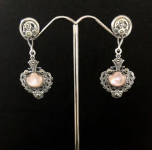 Load image into Gallery viewer, Earrings   -   DE09PMOP     Art Deco, Sterling Silver, Marcasite & Pink Mother of Pearl