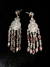 Load image into Gallery viewer, Earrings - DEEA132    Fabulous sterling silver, marcasite & garnet earrings