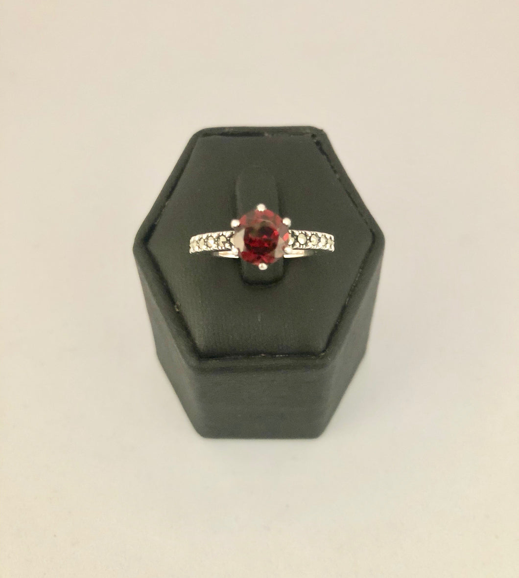 Ring  DER791AFG  -  Solitaire African Garnet on Silver & Marcasite band
