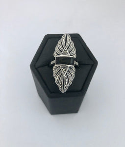 Ring  -  DR199ONX  Art Deco Sterling Silver, Marcasite and Black Onyx Ring