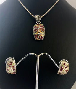 SETS Earrings & Pendant  -  DSet12OR   925 Sterling Silver, Marcasite & Enamel on Oxidised Silver Rope Chain.