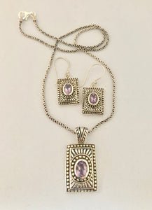SETS Earrings & Pendant  -  DSet16   925 Sterling Silver 'Aztec' Style Amethyst Earrings & Pendant on Oxidised Rope Chain