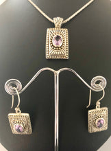 Load image into Gallery viewer, SETS Earrings & Pendant  -  DSet16   925 Sterling Silver 'Aztec' Style Amethyst Earrings & Pendant on Oxidised Rope Chain