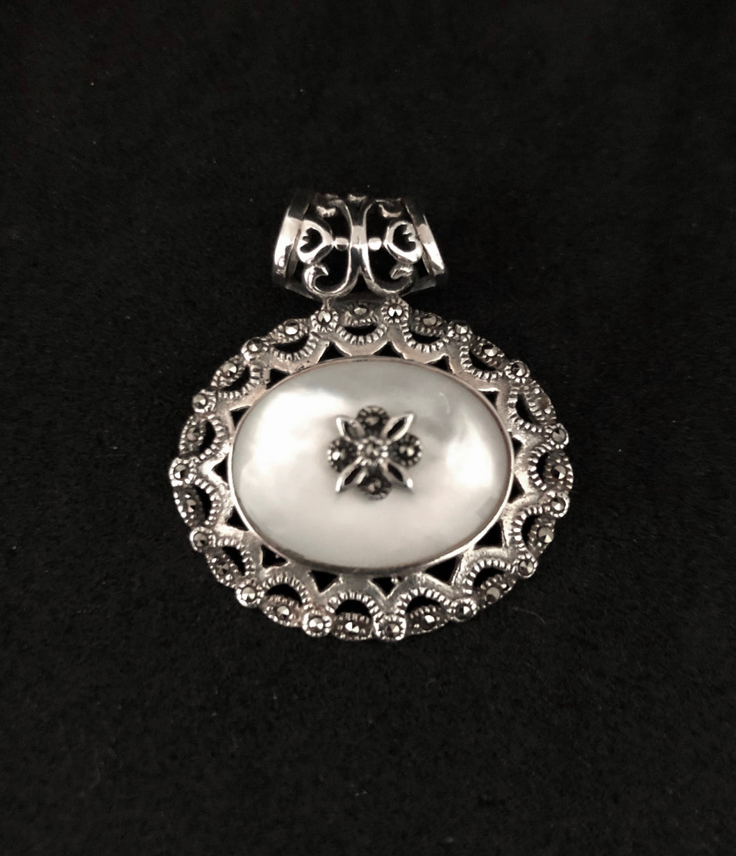 Pendant - DP02MOP    Silver, Marcasite & Mother of Pearl