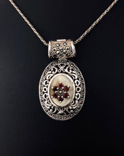 Load image into Gallery viewer, Pendant - DEP040ENH    Gorgeous silver, marcasite, Mother of Pearl & garnet enhancer pendant