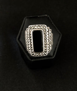 Ring  -  DER914   Art Deco Stunning Sterling Silver, Marcasite & Black Onyx Ring For Male Or Female