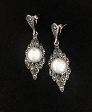 Load image into Gallery viewer, Earrings - DE1051    Stunning 925 Sterling Silver, Marcasite and Mother of Pearl Earrings
