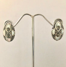 Load image into Gallery viewer, SETS  -  Earrings & Pendant   DSet14   925 Sterling Silver, Marcasite & Mother of Pearl Earrings and Pendant on a Fine Silver Chain
