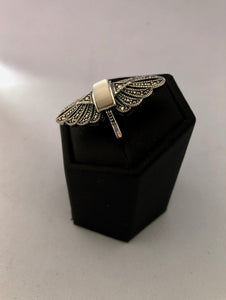 Ring  -  DER199MOP  Art Deco 925 Silver, Marcasite and Mother of Pearl Ring