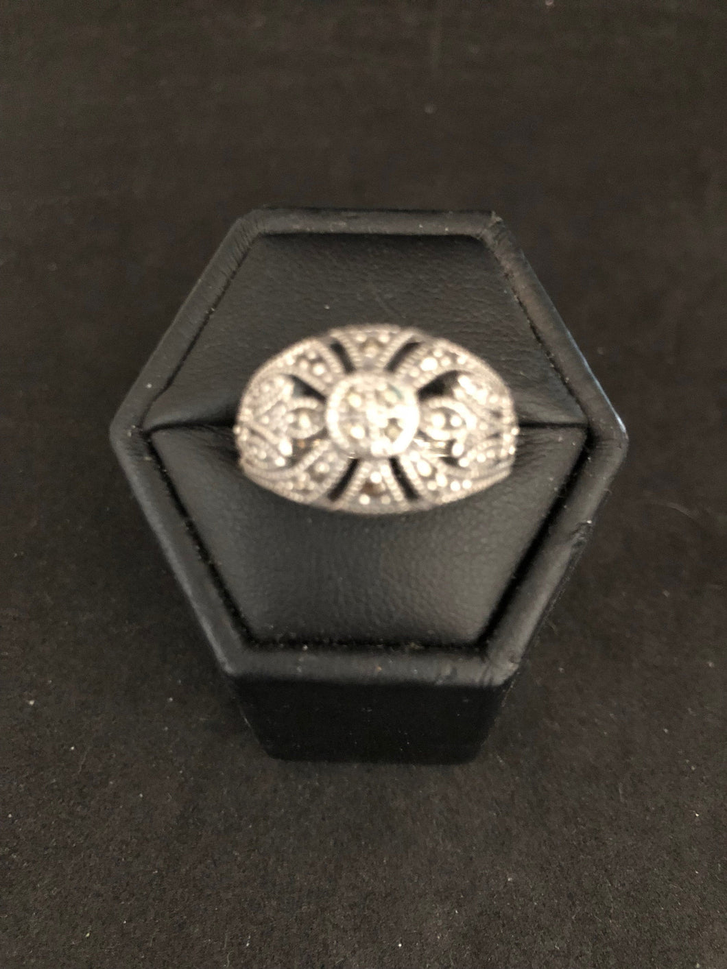 Ring DER131  - Art Deco Classic, Elegant, Sterling Silver & Marcasite Ring