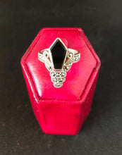 Load image into Gallery viewer, Ring  -  DER595ON     Art Deco gorgeous sterling silver, marcasite & onyx ring