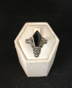 Ring  -  DER595ON     Art Deco gorgeous sterling silver, marcasite & onyx ring