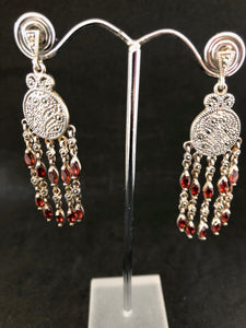 Earrings - DEEA132    Fabulous sterling silver, marcasite & garnet earrings