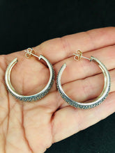 Load image into Gallery viewer, Earrings - DEEA176    Gorgeous Sterling Silver, Marcasite Hoop Earrings