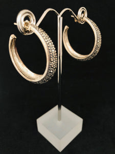 Earrings - DEEA176    Gorgeous Sterling Silver, Marcasite Hoop Earrings