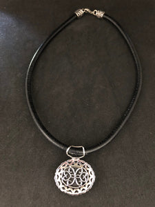 Necklace  -  Beautiful Black Leather Necklace with Sterling Silver, Marcasite and Black Onyx Pendant