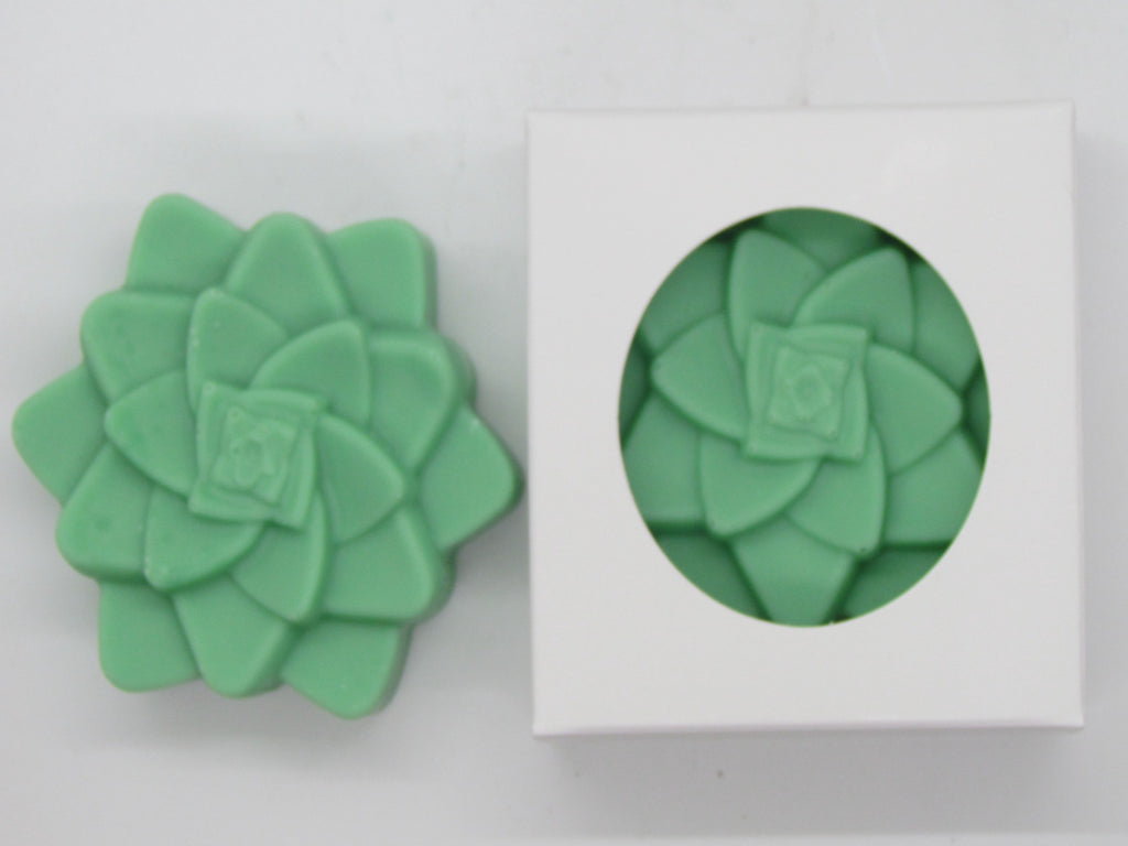 Pine and Bedford Succulent Guest Soap. A green coloured bar shaped like a succulent with a charming green floral fragrance. Shown here naked and boxed.