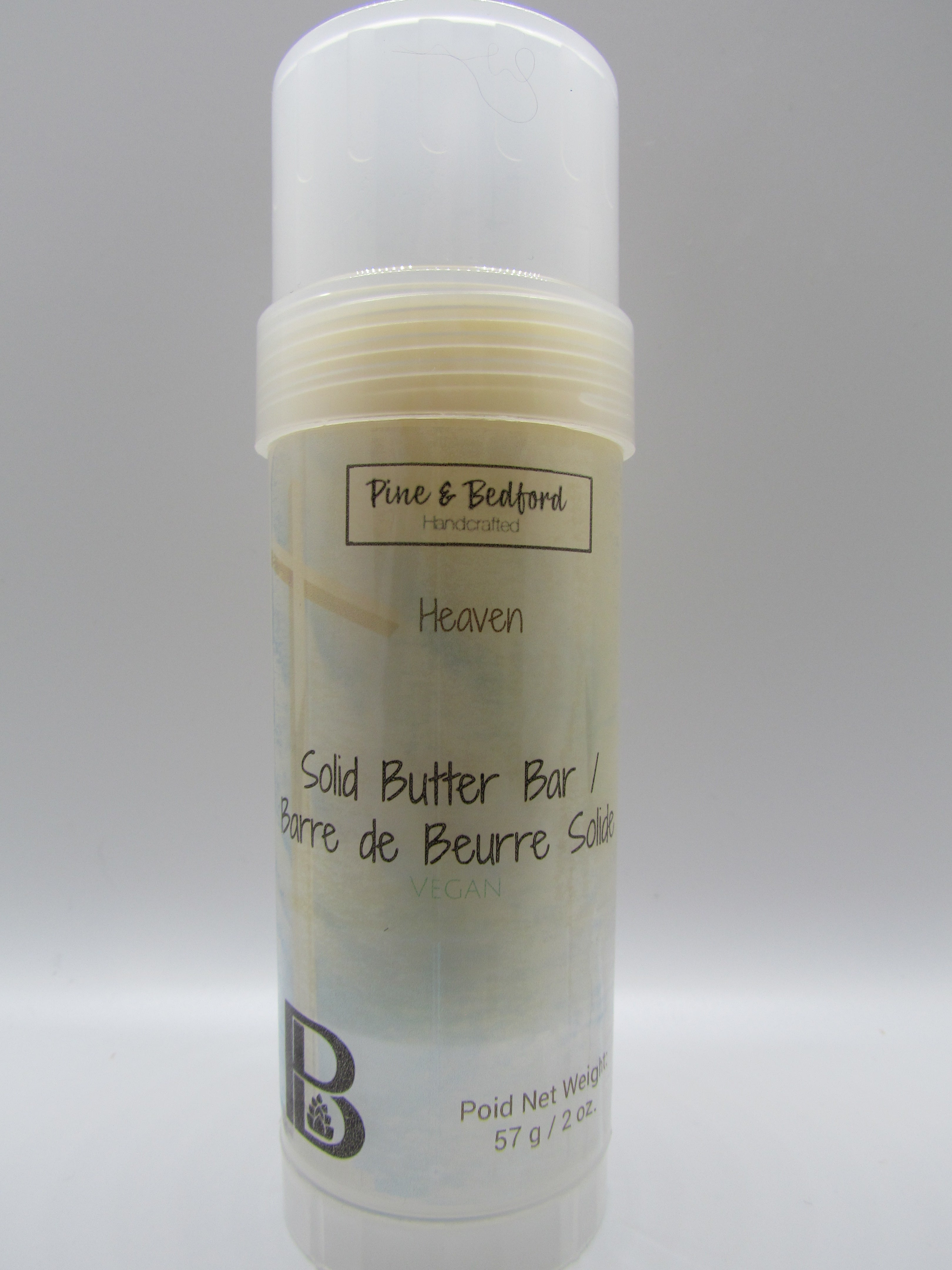 Pine and Bedford's Solid Butter Bar is made from Shea, Mango, Jojoba and Aloe Butters and melts on contact with skin. Two fragrance options are available: Heaven is a fresh unisex fragrance, and Grace is a Soft floral. Packaged in a convenient roll-up container. Heaven fragrance is shown here.