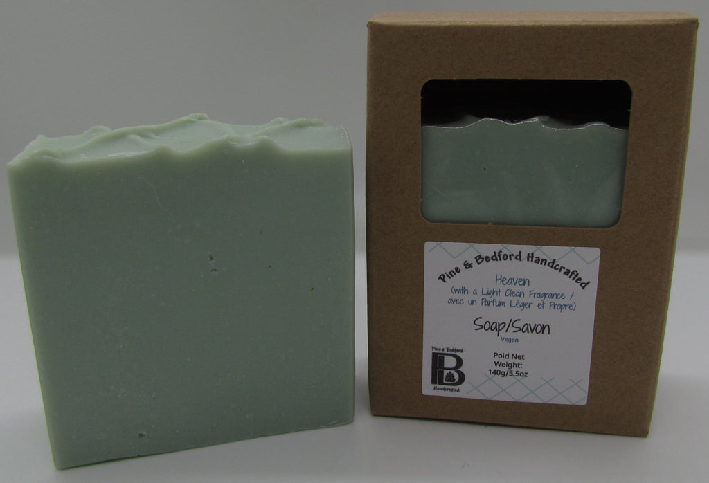 Pine and Bedford's Heaven. A blue-green soap bar with a light clean fragrance. Shown here naked and also boxed.