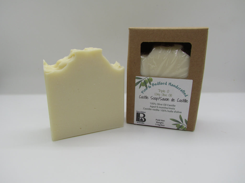 Pine and Bedford's Cream coloured Signature Pine fragranced Castile bar soap made with Olive Oil