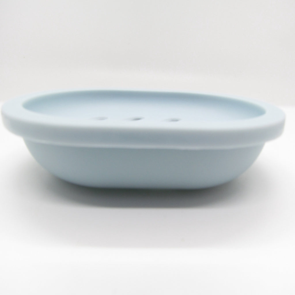 Pine and Bedford's slatted plastic soap dish - blue.