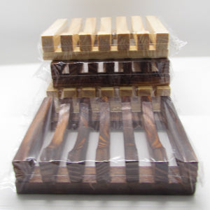 Pine and Bedford's Slatted Wooden Soap Dish. Available in  Light and Dark wood stain.