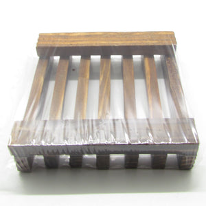 Pine and Bedford's slatted wooden soap dish (in dark stain) underside view.