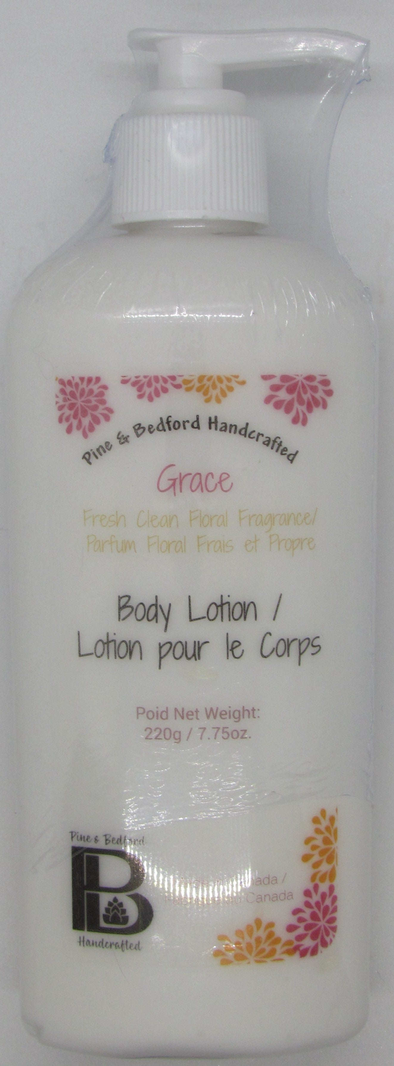 Pine and Bedford's 7.75 oz tall bottle (with dispensing pump) of Body Lotion.  Grace fragrance (Fresh Citrus Floral)