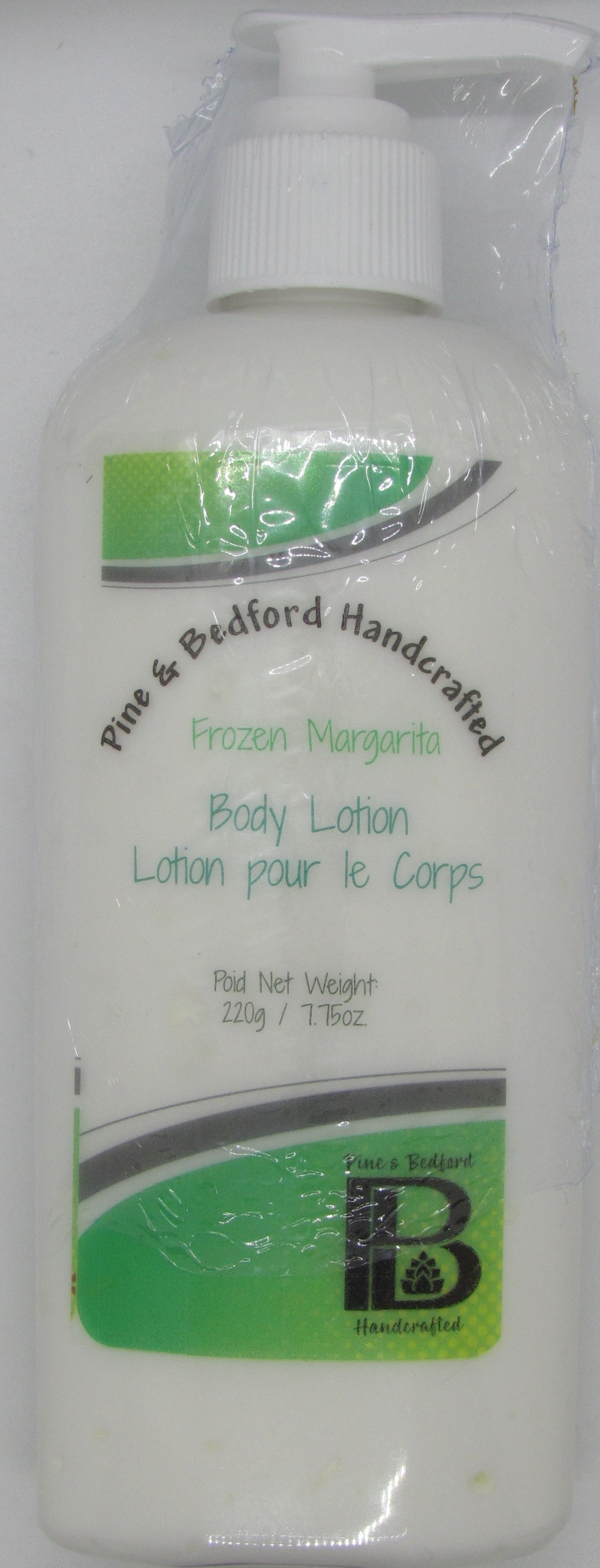 Pine and Bedford's 7.75 oz tall bottle (with dispensing pump) of body lotion. Frozen Margarita (Lime) fragrance.
