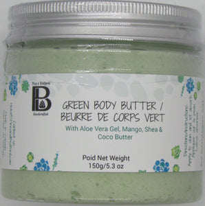 Pine & Bedford's Green Body Butter made from Aloe Vera Gel, Mango, Shea & Cocoa Butter with a relaxing cucumber and green floral fragrance.  150 g / 4 oz.