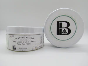 Pine and Bedfords Men's Shaving Cream. Shown in Birchwood.  Also available in Signature Pine.