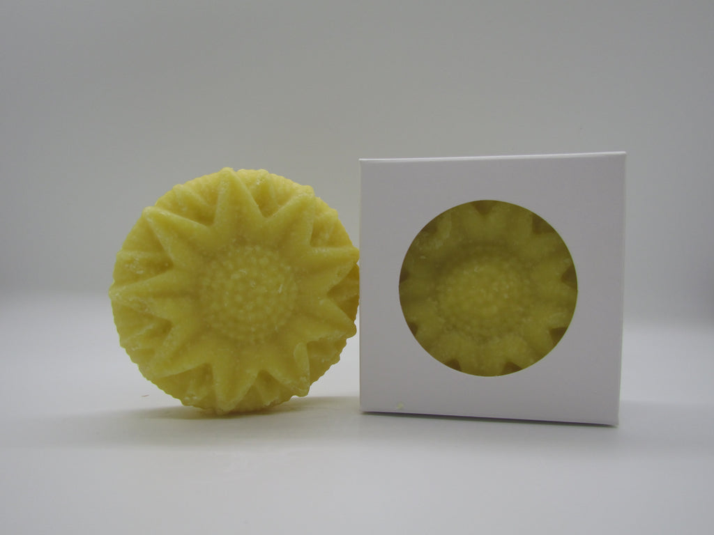 Pine and Bedford's Sunflower soap.  Fragranced with a bright floral sunflower scent; shown naked and boxed.