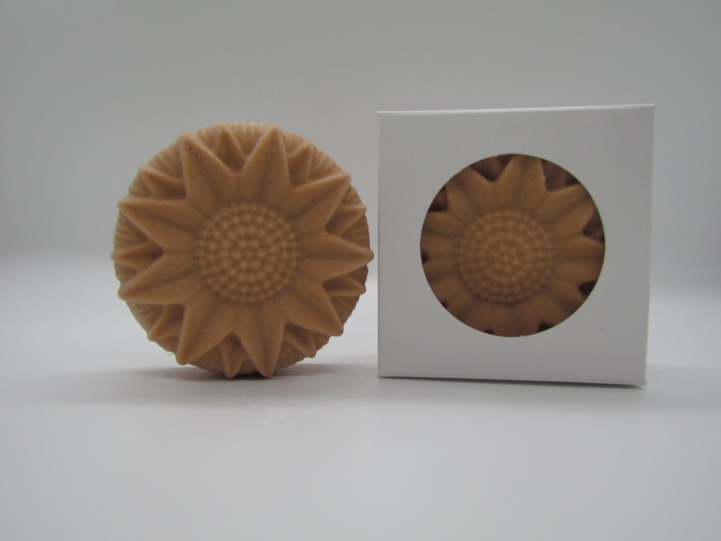 Pine and Bedford's Fragrance-free Sunflower soap with Rhassoul Clay for sensitive skin.  Shown naked and boxed.