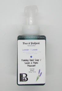 Pine & Bedford's Foaming Hand Soap made with Sweet Almond, Rice Bran and Castor Oils.  Available in an assortment of Fragrances and Essential Oils.  Lavender  Essential Oil shown here.