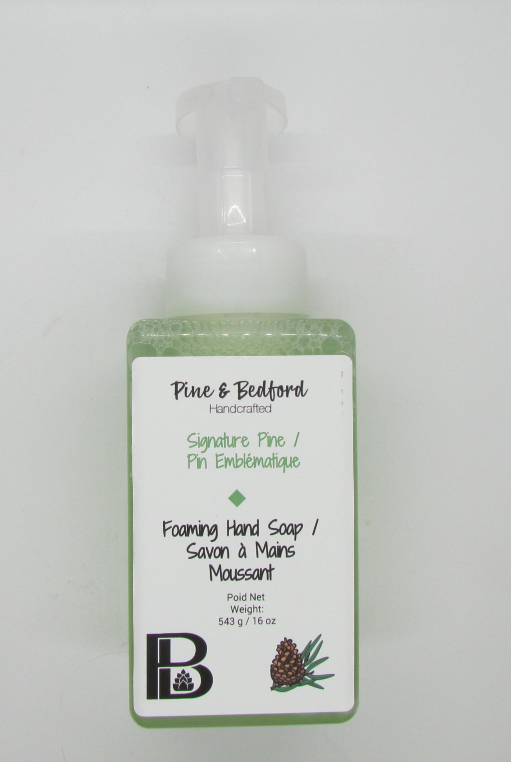 Pine & Bedford's Foaming Hand Soap made with Sweet Almond, Rice Bran and Castor Oils.  Available in an assortment of Fragrances and Essential Oils.  Signature Pine fragrance shown here.