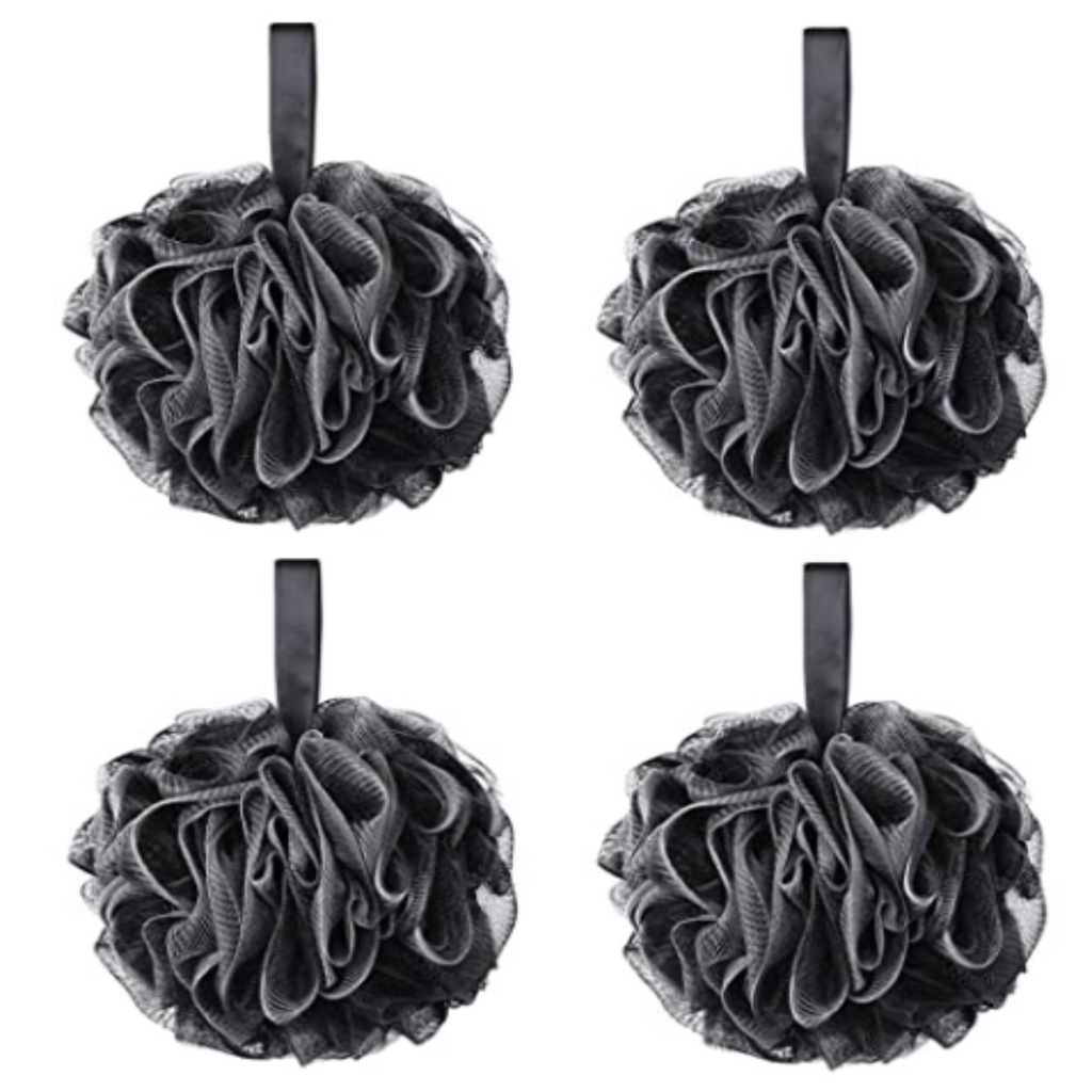 Pine and Bedford's soap accessories - black shower poofs.
