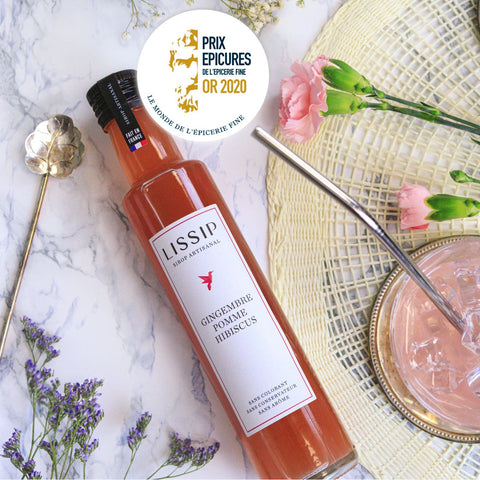 sirop artisanal lissip gingembre pomme hibiscus
