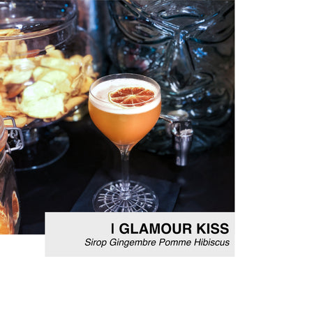 cocktail glamour kiss au sirop lissip gingembre pomme hibiscus